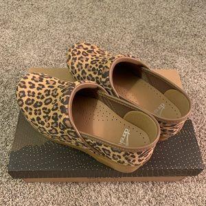 Dansko professional leopard suede clogs, size 37